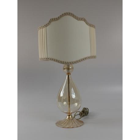 Lampada piccola vetro soffiato in Italia color ambrato con paralume