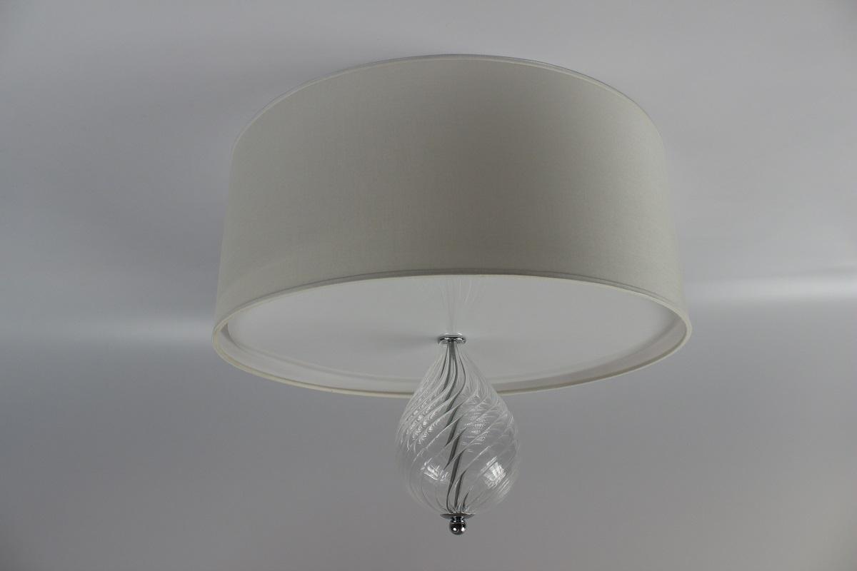 Plafoniere Vetro Soffiato : Plafoniera cilindro cotonette inserto in vetro fatto italia
