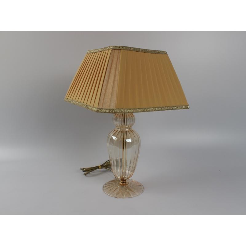 Lampada vetro soffiato in italia color ambrato con paralume - Lampada da tavolo artigianale ...